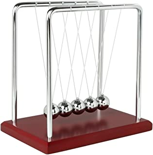 Newtons Cradle Balance Balls with Red Wooden Base Science Physics Learning Desk Toy Fun Gadget Pendulum for Office and Home Decoration