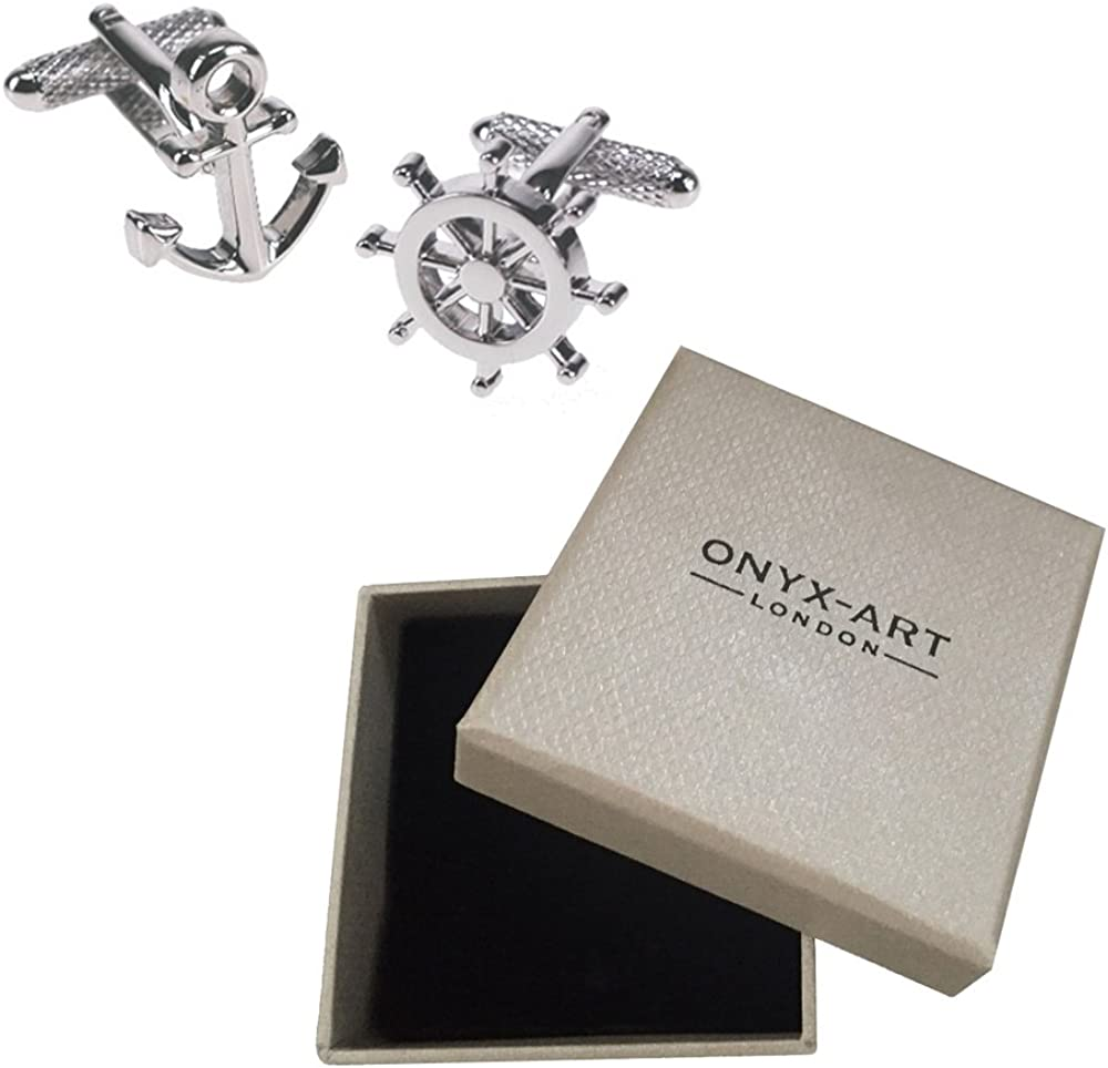 Onyx Art Men's Anchor & Wheel Sailing Boat Cufflinks & Gift Box One Size Multi-Color