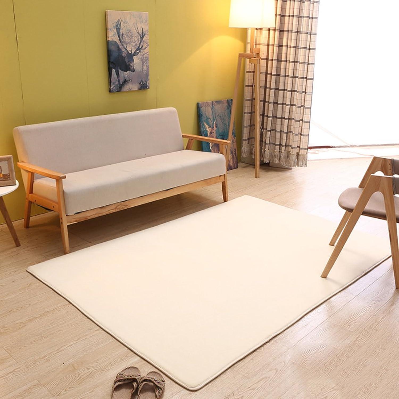 Coral velvet solid-color living room mat Carpet Bay window blanket Household use Simple [modern] Tea table The carpet for the living room Bedroom Rectangular bed blanket-F 120x160cm(47x63inch)