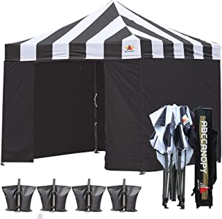 ABCCANOPY Canopy Tent Canopy 10x10 Pop Up Canopies Commercial Tents with 6 Removable Sidewalls and Roller Bag Bonus 4 Weight Bags and 10ft Screen Netting and Half Wall, Black with Black Wall