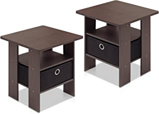 Furinno 2-11157DBR End Table Bedroom Night Stand, Petite,...