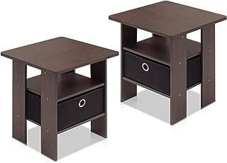 Furinno End Table Bedroom Night Stand, Petite, Dark Brown, Set of 2