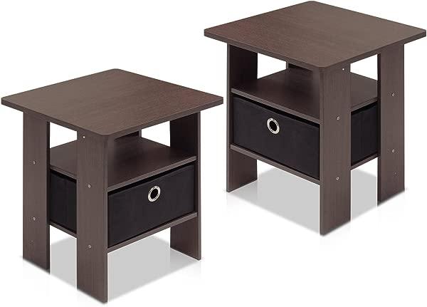 Furinno 2 11157DBR End Table Bedroom Night Stand Petite Dark Brown Set Of 2