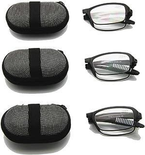 bb90ee8468 EnzoDate Gafas de lectura plegables flexibles con estuche, 1 a +3.5 Gafas plegables  de