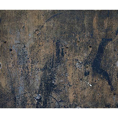 decomonkey Fototapete metalEffekt 250x175 cm XL Design Tapete Fototapeten Vlies Tapeten Vliestapete Wandtapete moderne Wand Schlafzimmer Wohnzimmer Dunkelblau Braun Rost FOB0121a5XL