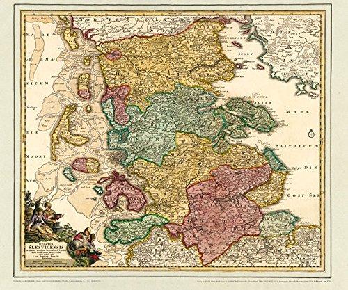 Historsiche Karte: Schleswig mit den Nordfriesischen Inseln, um 1720 (Plano) (Johann Baptist Homann (1664-1724) und seine Landkarten)