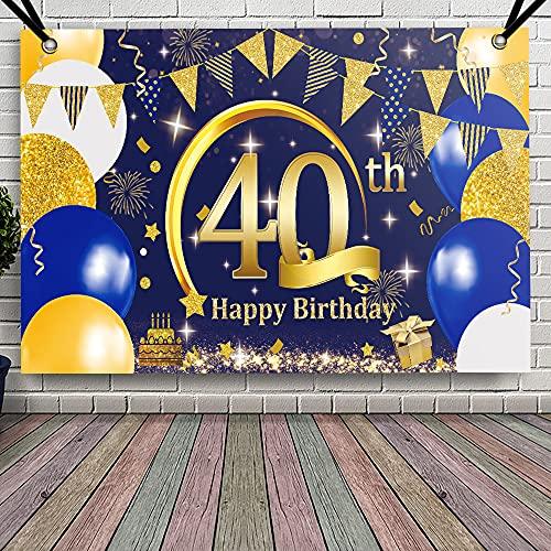 APERIL Decorazioni Compleanno 40 anni di Blu Oro, Addobbi Compleanno Feste Donna e Uomo, Compleanno Poster in Tessuto Sfondo per 40, Happy Birthday Striscione, Sfondo Fotografico di Compleanno