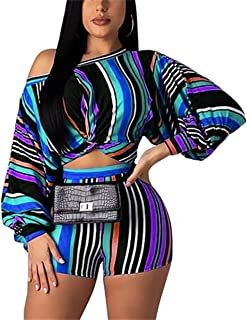 Women's 2 Piece Outfits Tracksuits Letter Print Crop Top Short Pants Set Sportwear