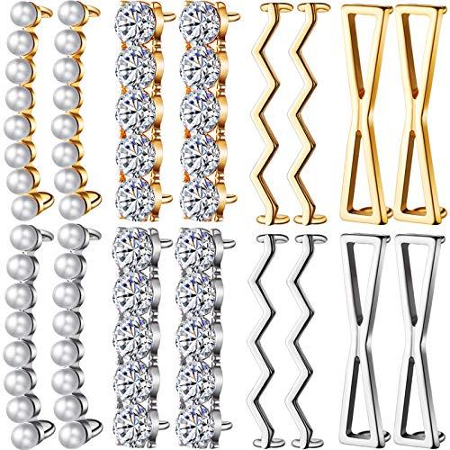 16 Clip Lacci delle Scarpe Include 4 Paia Oro e 4 Paia Argento Clip Scarpe Decorativi Fai da Te Fascino Accessorio da Scarpe di Strass di Perle Finte, per Scarpe da Ginnastica Scarpe Casual