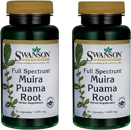 Swanson Muira Puama Root Sexual Health Virility Libido Boost Support Men's Women's Supplement 400 mg 90 Capsules (2 Pack)