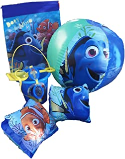 Disney Pixar Finding Nemo-Dory Ultimate Beach Gift Bundle -Beach Pail, Goggles, Beach Ball, Arm Floaties, Sling Carry Bag