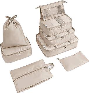 HUI JIN Lot de 8 sacs de rangement pour chaussures de voyage - Beige