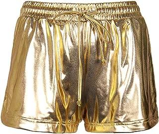 Smile Fish Women's Metallic Shorts Alien Costume Elastic Waist Shiny Pants