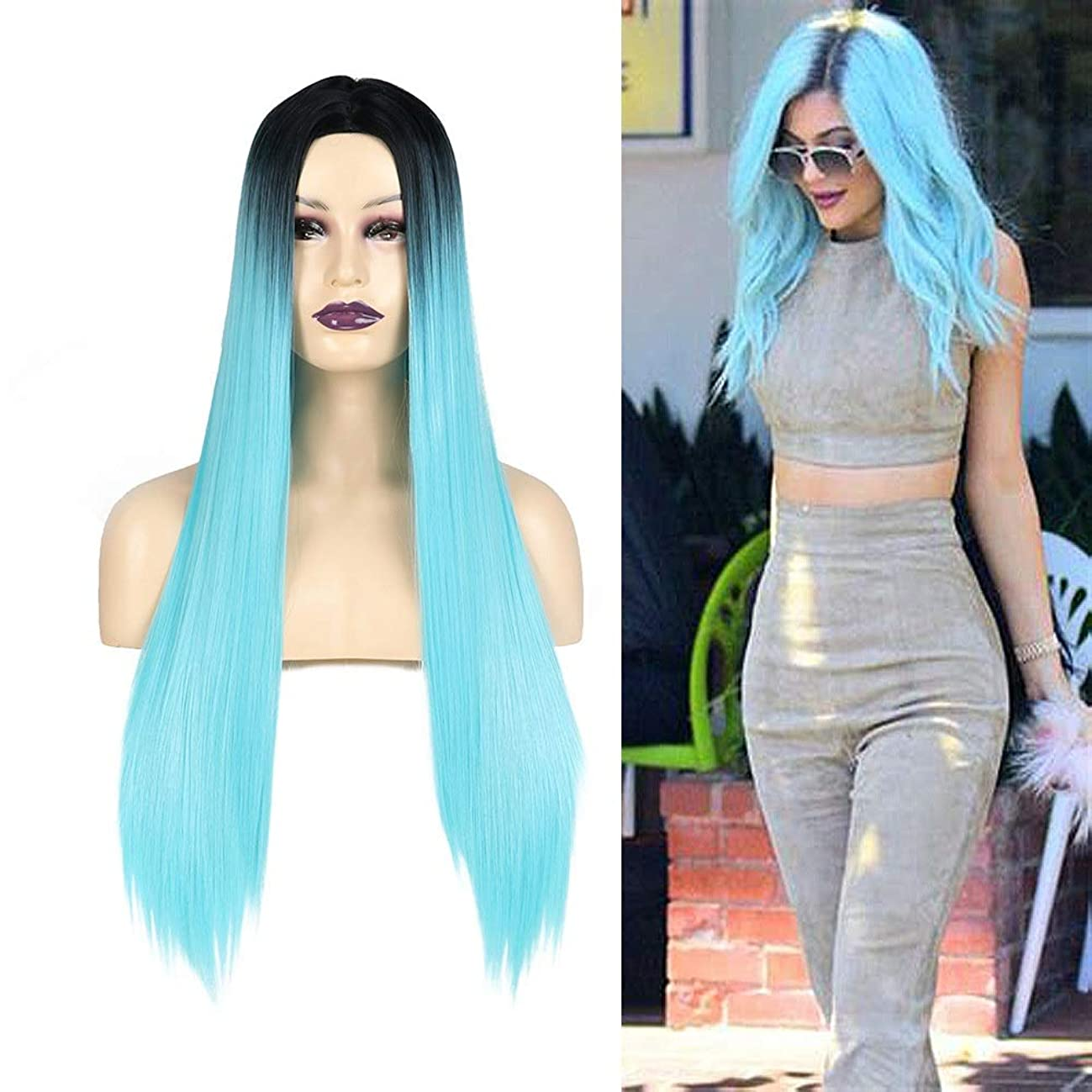 物理的な入り口収入HOHYLLYA ダークルーツグラデーションブルーロングストレートヘアミドルパートフリーキャップ用女性コスプレパーティードレスロングストレートヘア (Color : ブルー)
