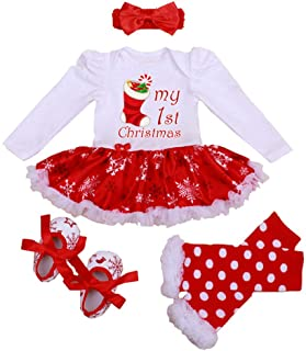 Winmany Newborn Baby Girls Christmas Romper Tutu Dress Outfit Headband Leg Warmer Shoes