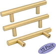 Goldenwarm 15pcs Brushed Brass Cabinet Cupboard Drawer Door Handle Pull Knob LS201GD76 for Furniture Kitchen Hardware 3in Hole Center 5in Overall Length