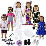 Miunana 6 Sets Kleidung Fashion Sommer Sport Kleid mit 2 Schuhe Brille für 46 cm Puppen 18 Inch...