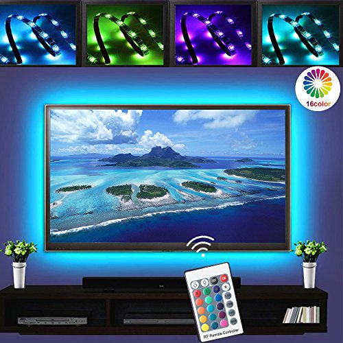 2M/6.6ft LED TV Backlights, RGB LED Strip Lights, USB Powered Bias Lighting Kits, LED Strip Lights with RF Remote Controller (16 Colors and 4 Dynamic Modes) for HDTV, PC Monitor and Home Theater