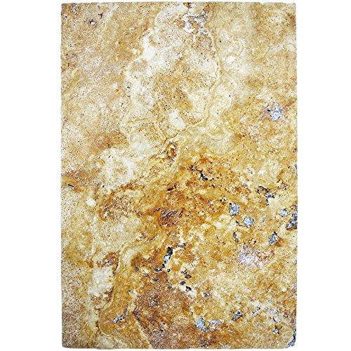 Natursteinfliesen Travertin Castello Gold 40,6x61cm | Wandverkleidung Badfliesen Bad Mosaikstein