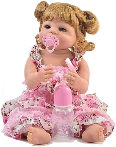 Reborn Babypuppen, Lebensechte 22 Zoll Reborn Babypuppe Silikon Realistische Prinzessin Neugeborenes mädchen Puppe Spielzeug Für Kinder Geburtstag Geschenk Gold Haar, Braune Augen