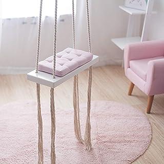 Aohuada Columpio infantil de madera rosa para interior y exterior con cojín de esponja de 50 kg