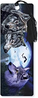 Dimension 9 3D Lenticular Bookmark with Tassel, Wolves Featuring Full Moon Background and Bats (LBM001)