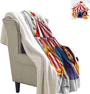 Zodel Baby Blanket Circus Funny Lion and Fire Hoop Blanket for Family and Friends W59 x L47