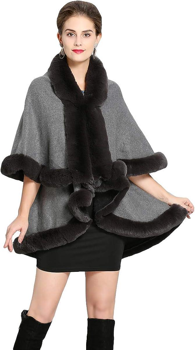 Fenghuavip Double Layers Faux Fur Capes Shawl Fur Collar Winter Wedding Cloak