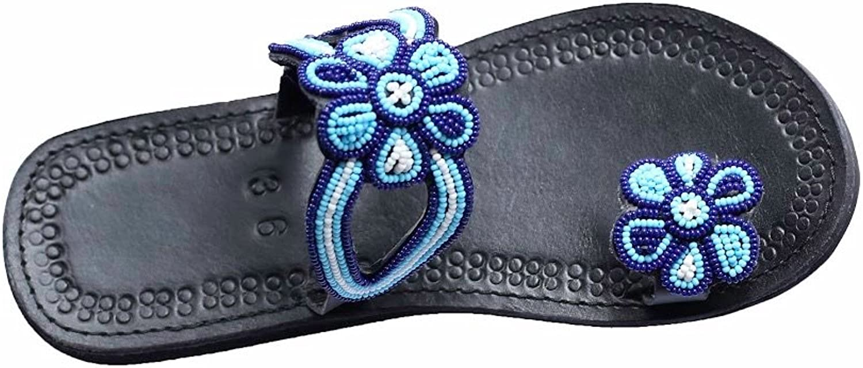 Perfection in progress Ring Toe flip Flop Slide Maasai Sandals for Women Flat Comfy Leather bluee Jeweled Sandalias de women