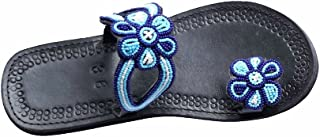 Ring Toe flip Flop Slide Maasai Sandals for Women Flat Comfy Leather Blue Jeweled Sandalias de Mujer