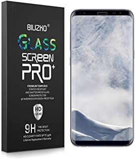 BIUZKO Galaxy S8 Screen Protector, Full Coverage Edge To Edge Curved Tempered Glass, Bubble -free AntiScratch/Shatter/Fingerprint