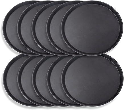 Preisvergleich für Schramm® 10 Stück Gastro Tablett 35cmx2cm rund schwarz 10er Pack mit Anti Rutsch Beschichtung hoher Rand Kellnertablett Kellner Gastro Tablett Tabletts