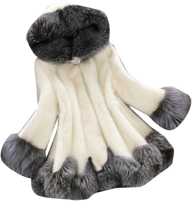 TDCACA Women's Winter Warm Hoodie Faux Fur Overcoat Jacket Outerwear