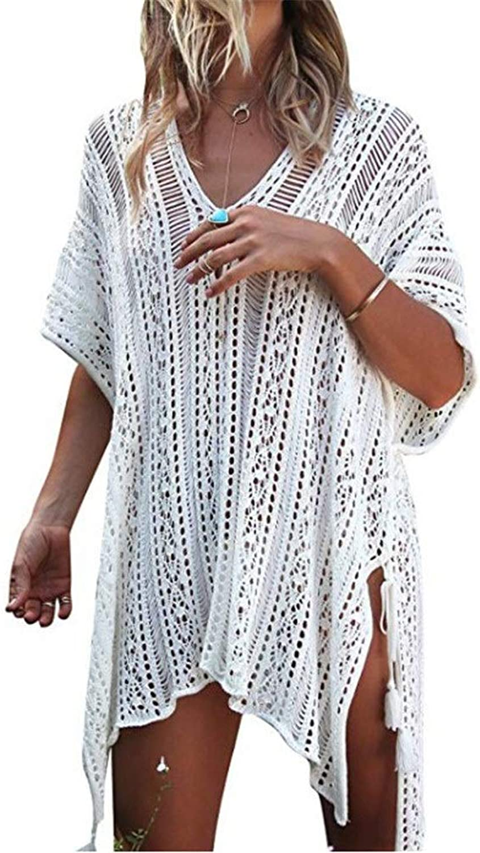 Beach Dress V Neck Crochet Bikini Swimsuit Dress Summer Holiday Swimwear Beach Cover Swim Boho Beach Dress Suitable for Outdoor Beach Walks (color   White, Size   M)