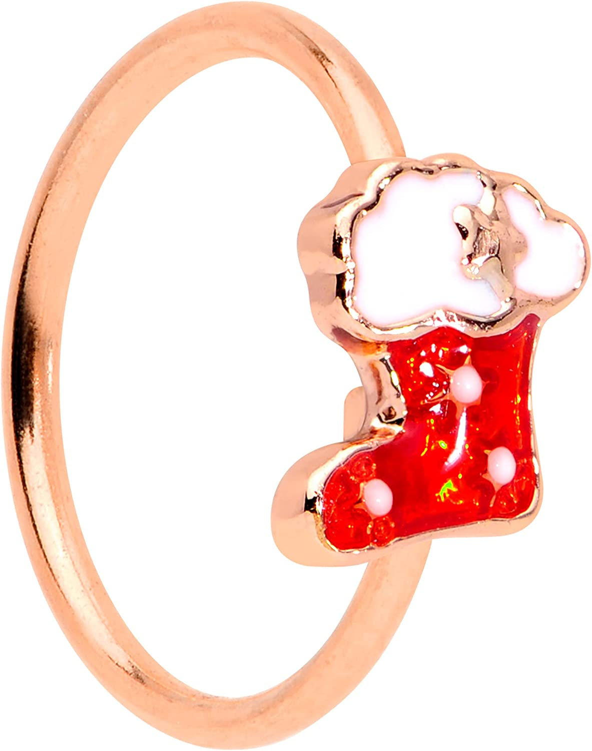 Body Candy Womens 20G PVD 316L Spasm price Nose Stocking Red Rosy Steel Ring Al sold out.