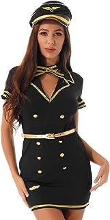 Aislor Costume hôtesse de l'air Femme Sexy Pilote Policière Uniforme Costume Police Robe & Chapeau & Cravate & Ceinture 4 ...