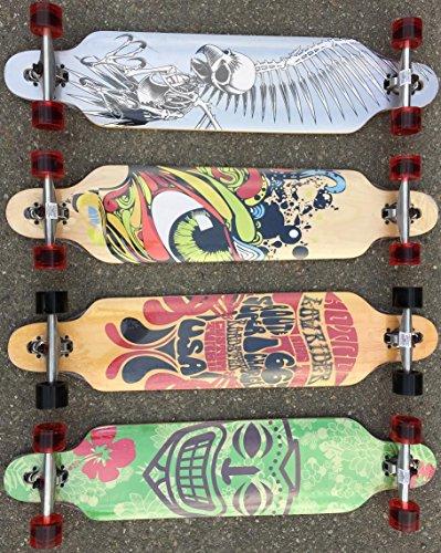 BUSDUGA Longboard Skateboard aus Ahornholz, HQ-Kugellager, wählen Sie Ihr Design (Tiki Maske)
