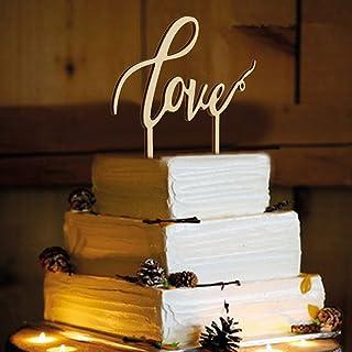 tortenstecker love ROSENICE Love Hochzeitstorte Topper für Hochzeitsdekorationen Holz Farbe