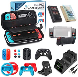 All in One Switch Accessories Bundle,OIVO Kit with Carry Case, Joy-con Controller Charging Dock ,Switch Playstand,Game Case,Protective Case,Screen Protector,Grip and Steering Wheel for Nintendo Switch