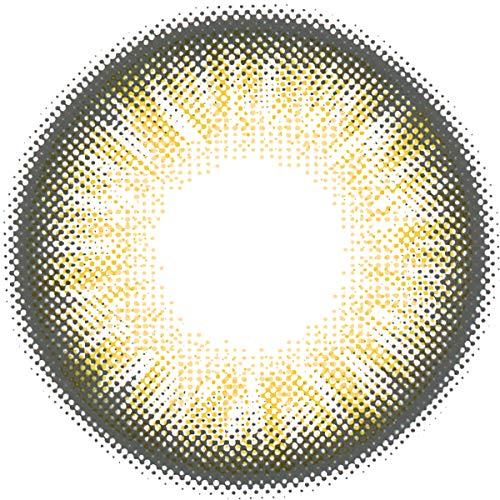 Matlens - Pro Trend Farbige Kontaktlinsen mit Stärke TriColor Bella gelb hellbraun Big Eyes NPX-D02 2 Linsen 1 Kontaktlinsenbehälter 1 Pflegemittel 50ml