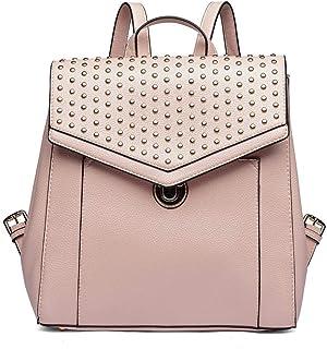 Miss Lulu Backpack Soft Pu Leather Rivet Design Casual Daypack Fashion Zipper School Backpack for Girls