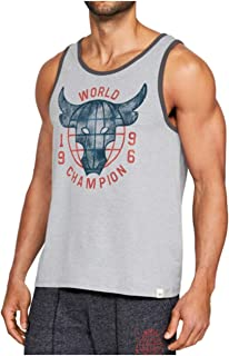 Under Armour Men's UA x Project Rock 96 World Champ Tank Top Shirt, Grey, Medium