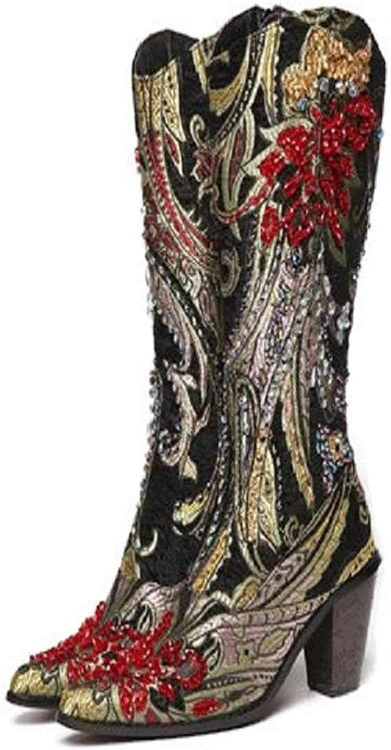 Black, red and metalic gold brocade print Boots.