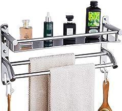 HONPHIER Handdoekenrek Multifunctionele Handdoekenrek met Opbergplank SUS304 RVS Handdoekhouder Wandmontage Badhanddoek Ra...