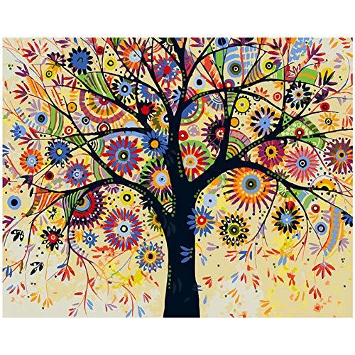 TAHEAT Kit de pintura de bricolaje por números con pinceles y pinturas acrílicas Regalos de cumpleaños para adultos Niños Pintura para principiantes en lienzo 40 * 50 cm - Árbol abstracto sin marco
