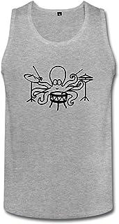 智航 メンズ 章魚の音楽 タンクトップ 丸首 綿 ロゴ Uネック
