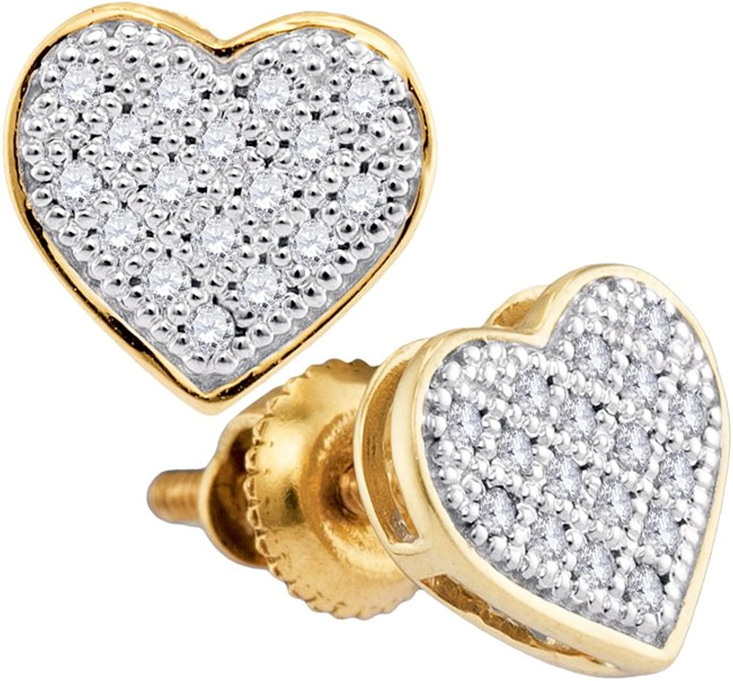 1 10 Total Carat Weight DIAMOND MICRO PAVE HEART EARRINGS