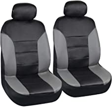 Motor Trend Two Tone PU Leather Car Seat Covers - Black Classic Accent Gray Sides - Premium Leatherette - Front Pair