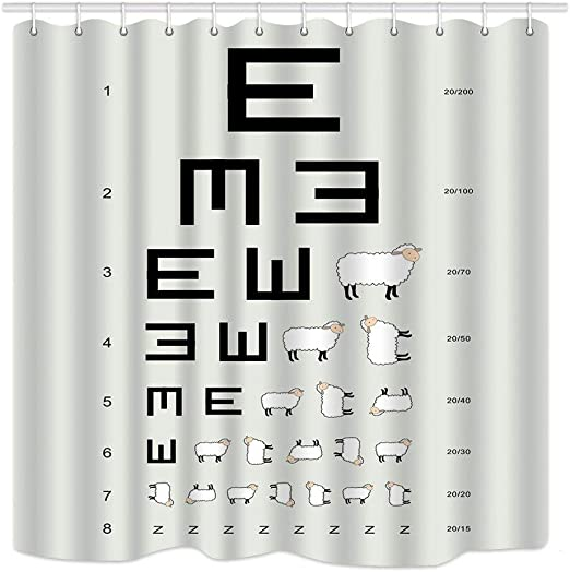 Funny Decor Shower Curtain set Optometrist Eye Chart with Sheep Bathroom Curtain
