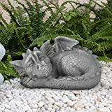 Dragon Garden Statue Adorable Sleeping Baby Dragon Stone Finish Figurine, for Home Decor Outdoor Decoration